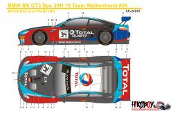 1:24 BMW M6 GT3 Spa 24H 18 Winner Team Walkenhorst #34 Decals (Platz)