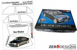 1:24 Mercedes Benz 600SEL  Pre Cut Window Painting Masks (Tamiya)