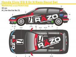 1:24 Honda Civic EG6 Gr.N Razo Decals
