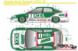 1:24 KOOL Honda Accord JTCC 1997 Decals (for Tamiya kit #24138)