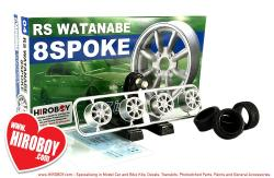"1:24 RS Watanabe 8 Spoke 17"" Aoshima Wheels and Tyres"