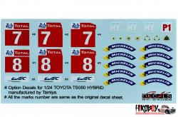 1:24 Toyota TS050 Hybrid Le Mans 2018 (Additional decals) SK Decals