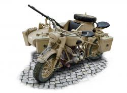 1:9 BMW R75 German Military Motorcycle with Sidecar