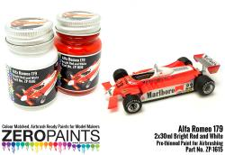 Alfa Romeo 179 Bright Red and White Paint Set 2x30ml