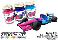 Brabham BT60B Pink - Dark Blue - Light Blue Paint Set 3x30ml