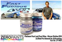 Fast and Furious Platinum Pearl/Pearl Blue Paints 2x30ml (Paul Walker Nissan Skyline R34)