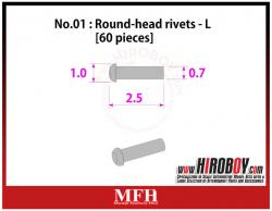 Metal Rivets Series No.01 - Round-head rivets  L [60 pieces] P1008