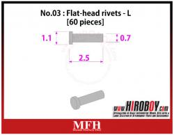 Metal Rivets Series No.03 -Flat-head rivets  L [60 pieces] P1010