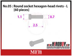 Metal Rivets Series No.05 : Round socket hexagon-head rivets  L [60 pieces] P1012