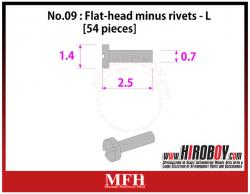 Metal Rivets Series No.09 : Flat-head minus rivets  L [54 pieces] P1016