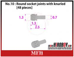 Metal Rivets Series No.10 : Round socket joints with knurled [48 pieces] P1026