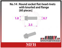 Metal Rivets Series No.14 : Round socket flat-head rivets with knurled and flange [60 pieces] P1030