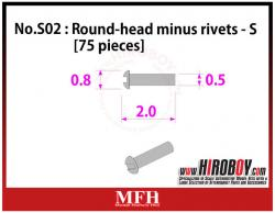 Metal Rivets Series No.S02 : Round-head minus rivets  S [75 pieces] P1018