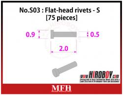 Metal Rivets Series No.S03 : Flat-head rivets  S [75 pieces] P1019