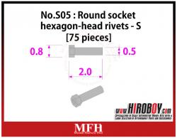Metal Rivets Series No.S05 :  Round socket hexagon-head rivets  S [75 pieces] P1021