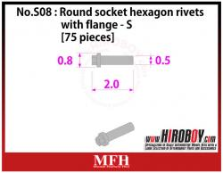 Metal Rivets Series No.S08 : Round socket hexagon rivets with flange  S [75 pieces] P1024