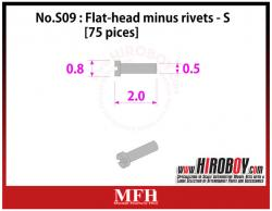 Metal Rivets Series No.S09 : Flat-head minus rivets  S [75 pieces] P1025