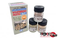 Mr Hobby Weathering Pastel Set 1 - Dirt, Dust and Mud