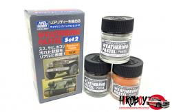 Mr Hobby Weathering Pastel Set 2 - Charcoal Black, Light Grey, Rust Orange