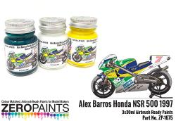 Alex Barros Honda NSR 500 1997 Green, Yellow and White Paint Set 3x30ml