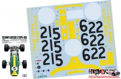 Spare Tamiya Decal Sheet for 1:12 Team Lotus Type 49 1967 12052