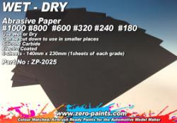 Wet and Dry Abrasive Paper #1000 #800 #600 #320 #240 #180 - 6 Sheets