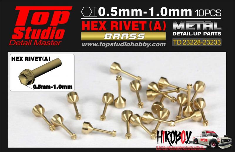 0.9mm Hex Rivets (A) Brass x10