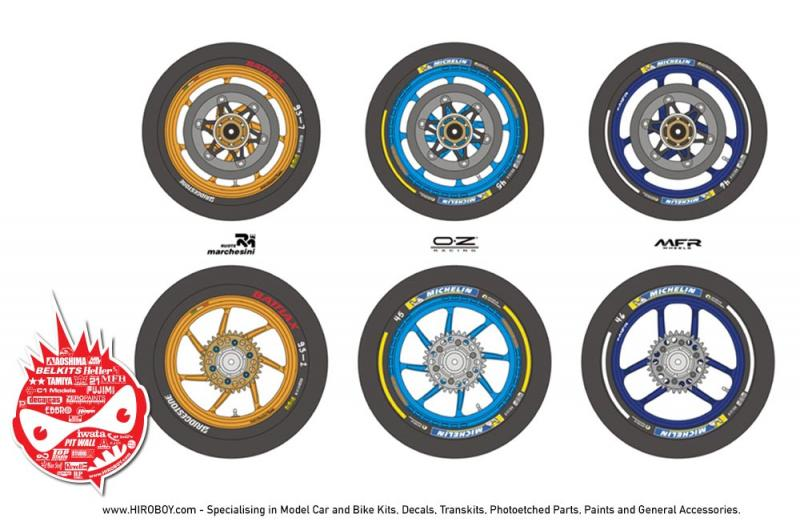 1:12 MotoGP Motorcycle Wheel and Tyre Decals