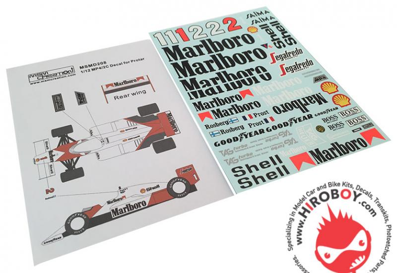 1:12 Mclaren MP4/2C 1986 Sponsor Decals (Protar)