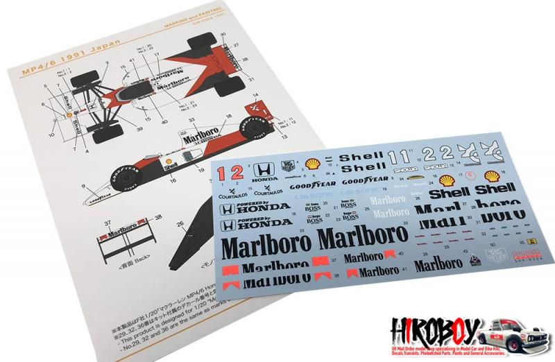 1:20 Mclaren MP4/6 (1991 Japan GP) Decals (for Fujimi)