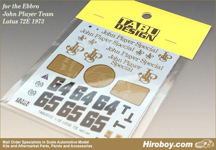 1:20 Option Decals for Ebbro John Player Team Lotus 72E 1973