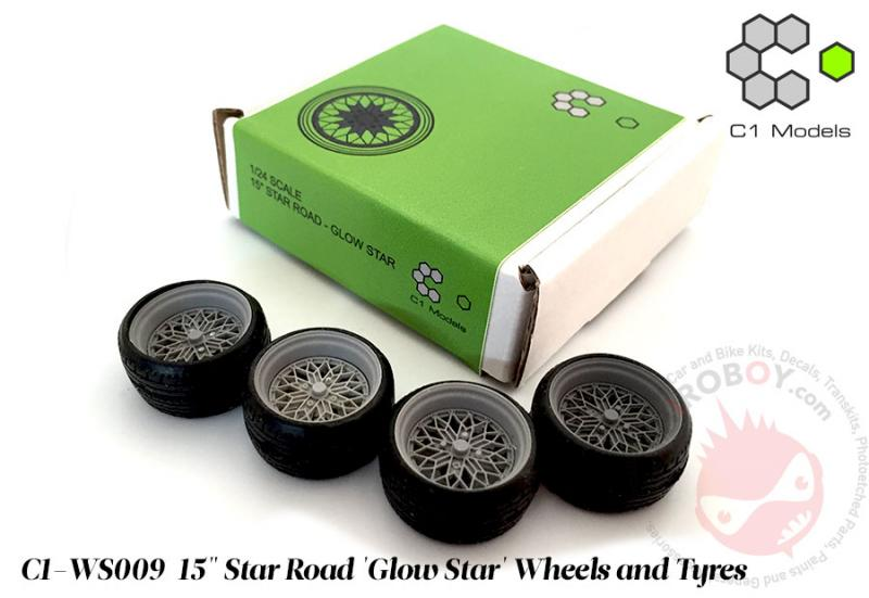 "1:24	15"" Star Road 'Glow Star' Wheels and Tyres"