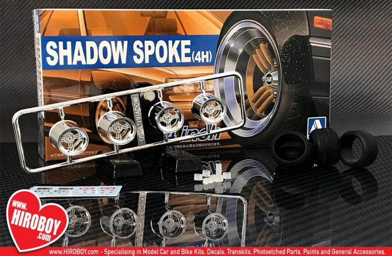"1:24 14"" Shadow Spoke (4H) Wheels and Tyres"