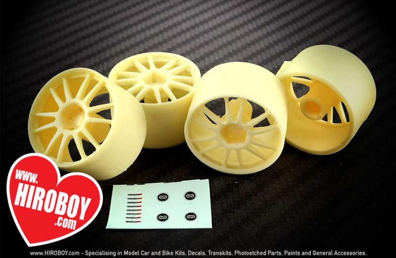 "1:24 19"" Resin Wheel Set for Nissan 370z With Decals (Tamiya)"