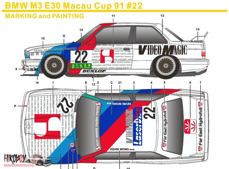 1:24 BMW M3 E30 Macau Cup 1991 #22 Video Magic Decals