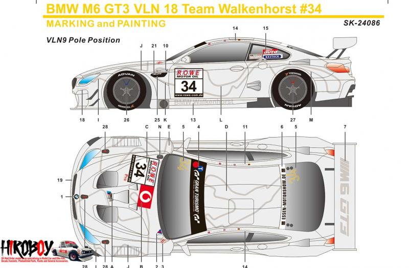 1:24 BMW M6 GT3 VLN 18 Team Walkenhorst #34 Decals (Platz)