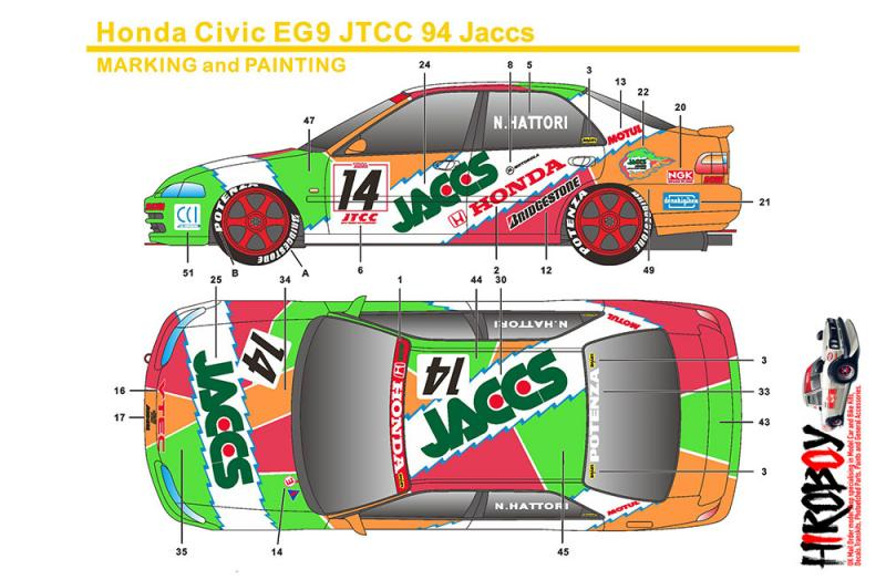 1:24 Honda Civic EG9 JTCC 1994 JACCS Decals