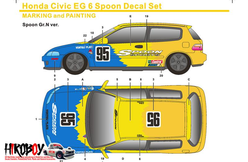 1:24 Honda Civic EG6 Gr.N Spoon Decals