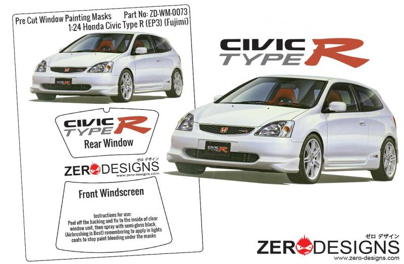 1:24 Honda Civic Type R (EP3) Early Type Pre Cut Window Painting Masks (Fujimi)