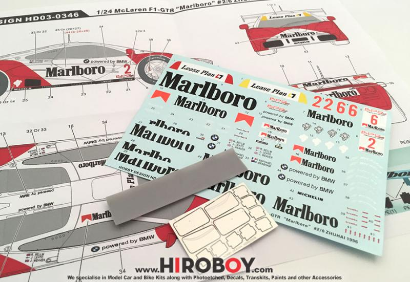 "1:24 Mclaren F1-GTR Marlboro"" #2/6 Zhuhai 1996 Detail-up Set Photoetched/Resin/Decals Detailing Set"
