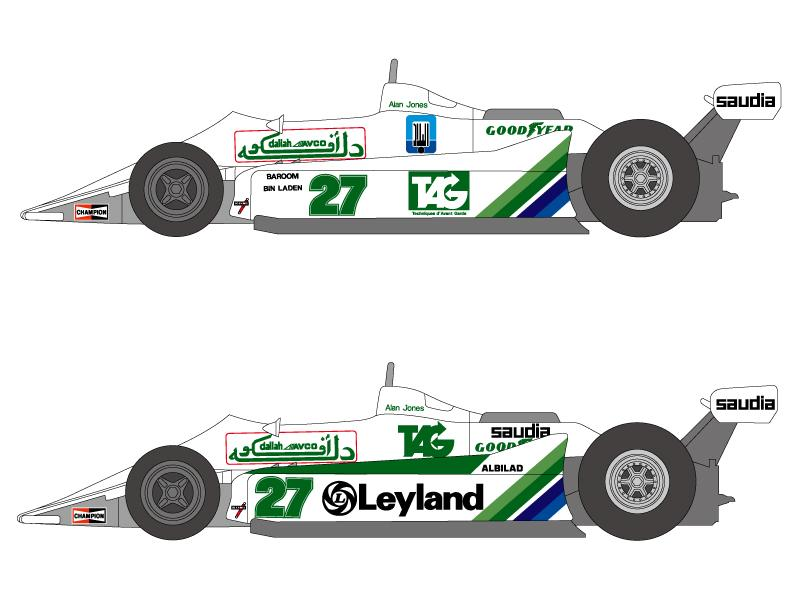 1:20 Williams FW07 Decals (for Tamiya kit #20014)