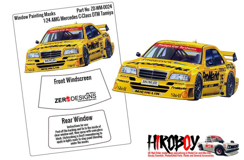 1:24 AMG Mercedes C-Class DTM Window Painting Masks (Tamiya)