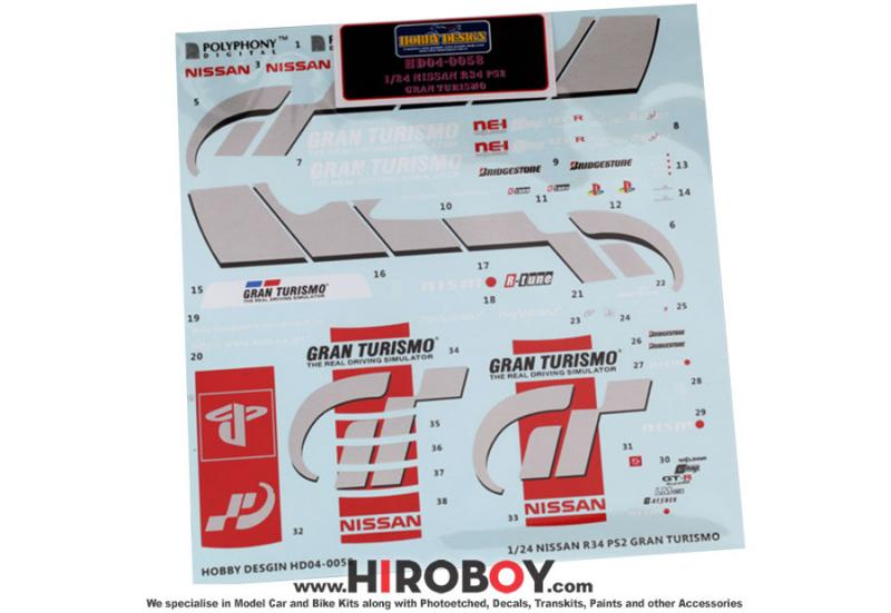 1:24 Nissan Skyline GT-R R34 PS2 Gran Turismo Decals