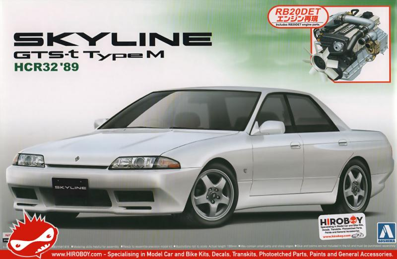 1:24 Nissan Skyline GTS-T Type M HCR32 c/w RB20DET Engine