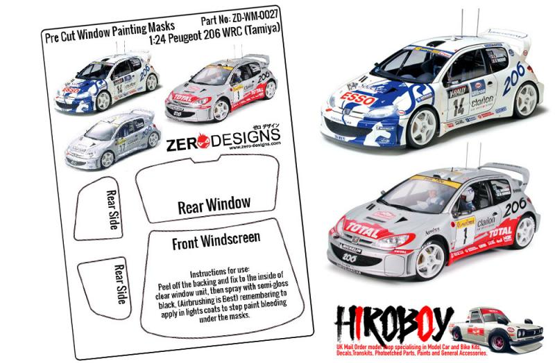 1:24 Peugeot 206 WRC Pre Cut Window Painting Masks (Tamiya)