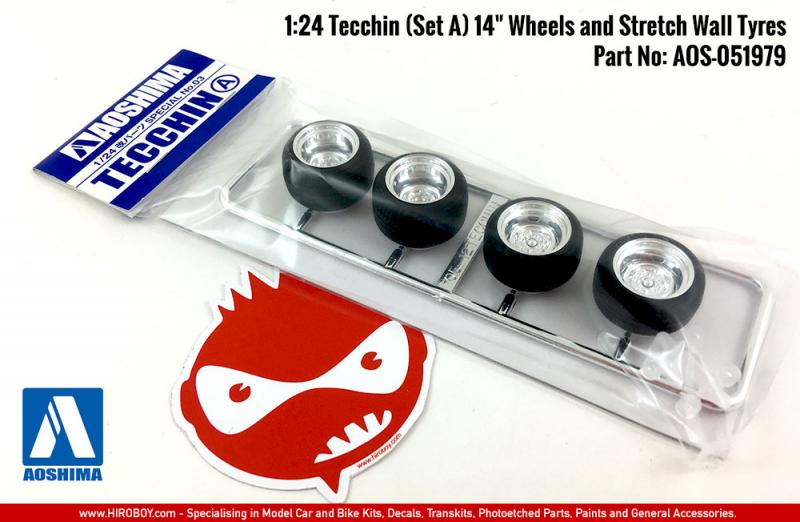"1:24 Tecchin (Set A) 14"" Wheels and Stretch Wall Tyres"