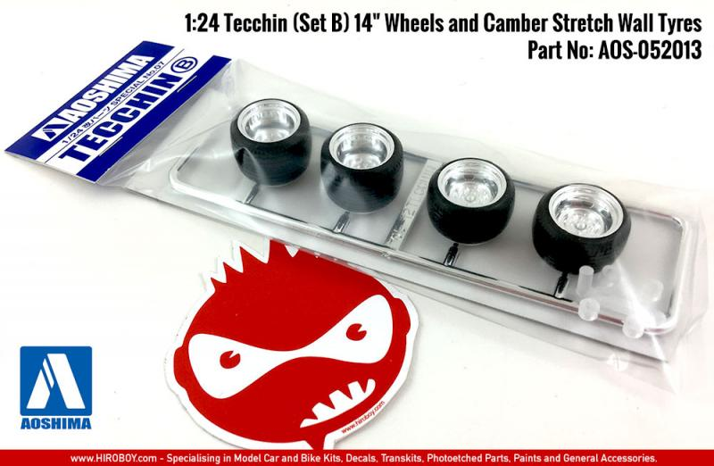 "1:24 Tecchin (Set B) 14"" Wheels and Camber Stretch Wall Tyres"