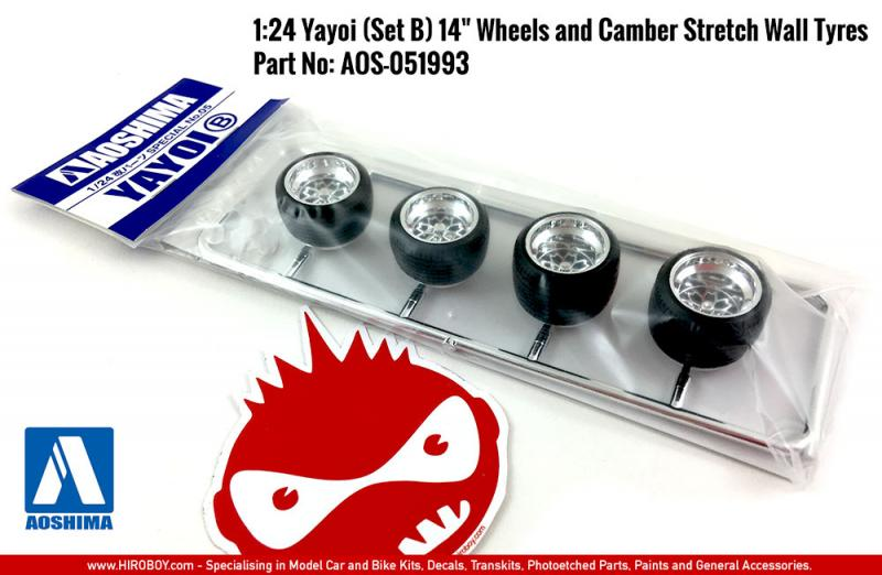 "1:24 Yayoi (Set B) 14"" Wheels and Camber Stretch Wall Tyres"