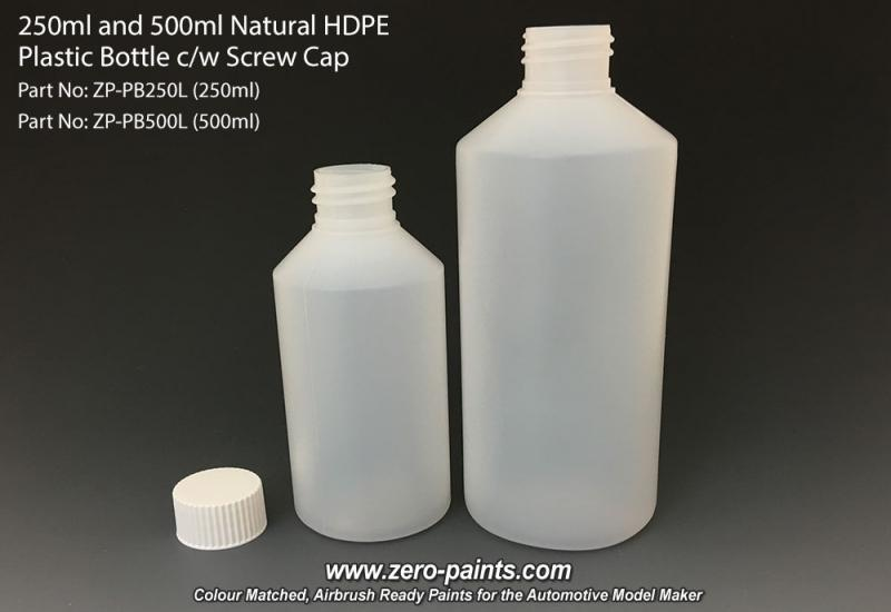 500ml Natural HDPE Plastic Bottle c/w Screw Cap
