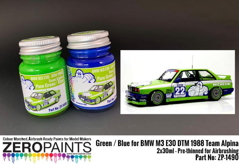 BMW M3 E30 - DTM 1988 Team Alpina - Green / Blue Paint Set 2x30ml